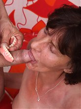 Wrinkled mature Stephanie jumps on top of a young stud to cram her slit with his fat dick