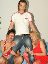 Eve and Eva got together to share a cock and take turns in dishing out their bushy cunts live