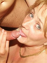 Curvy blonde mature Eve in sexy stocking gets down on her knees to take cock plugging
