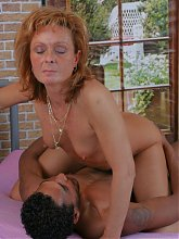 Horny mature slut sucking and fucking a black dude