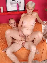 Slutty granny Irine gives a cock a mouthfuck and got screwed and gooed in this nasty porn story
