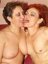 Nasty grannies Steph and Jullianna lick each others pussies and make them wet in this lesbo porn