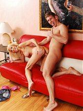 Erica Lauren lures a younger guy into screwing her mature cunt and gets a facial